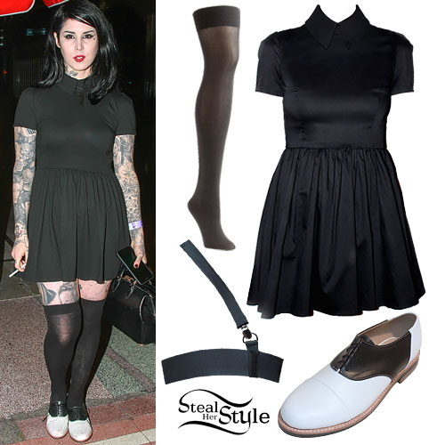 Kat Von D: Collared Dress, Saddle Shoes