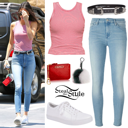 Kendall Jenner Striped Red Tank Cropped Jeans Steal Her Style