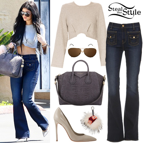 Kylie Jenner Crop Top Flared Jeans Steal Her Style