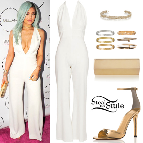 Kylie Jenner White Jumpsuit Gold Sandals Steal Her Style