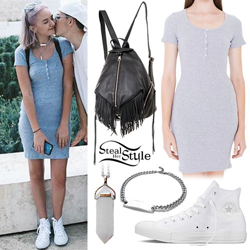 Maddi Bragg: Gray T-Shirt Dress