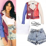 Madison Beer: Colorblock Biker Jacket