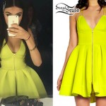 Madison Beer: Neon Zippered Dress