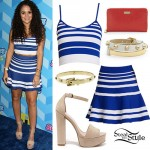 Madison Pettis: Blue & White Striped Skirt Set