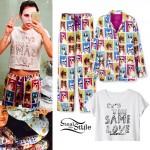 Miley Cyrus: Dog Print Pajamas