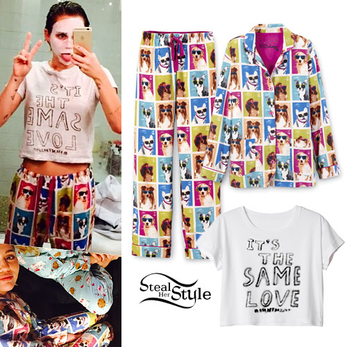 Miley Cyrus: Dog Print Pajamas