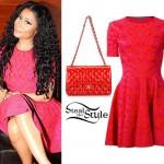 Nicki Minaj: Pink Printed Dress
