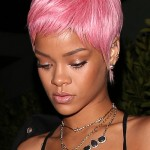 Rihanna shows off her pink hair at Giorgio Baldi
