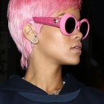 Rihanna wraps up dinner at Giorgio Baldi with her new pink do