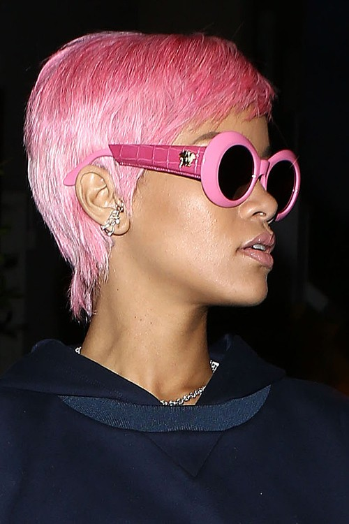 Rihanna Straight Pink Pixie Cut Uneven Color Hairstyle Steal Her Style