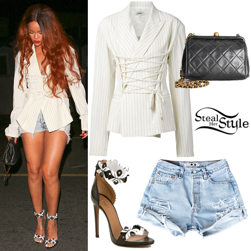 Black white striped blazer like rihanna