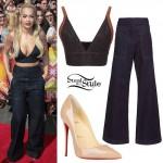 Rita Ora: Denim Bustier, Wide-Leg Jeans