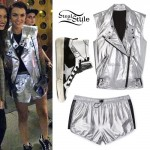 Ruby Rose: Silver Biker Vest Outfit