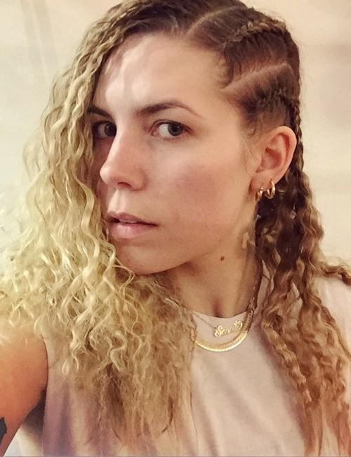 Skylar grey wavy golden blonde crown braid dark roots hairstyle