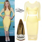 Skyler Samuels: Yellow Mesh Skirt Set