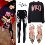 Trina: Fishnet Leggings, Rainbow Pumps