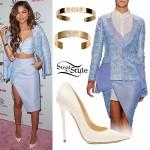 Zendaya: Light Blue Blazer & Skirt
