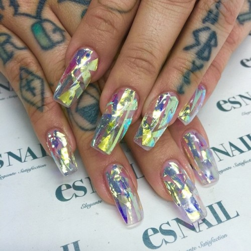 porcelain black gold purple silver abstract foil nail