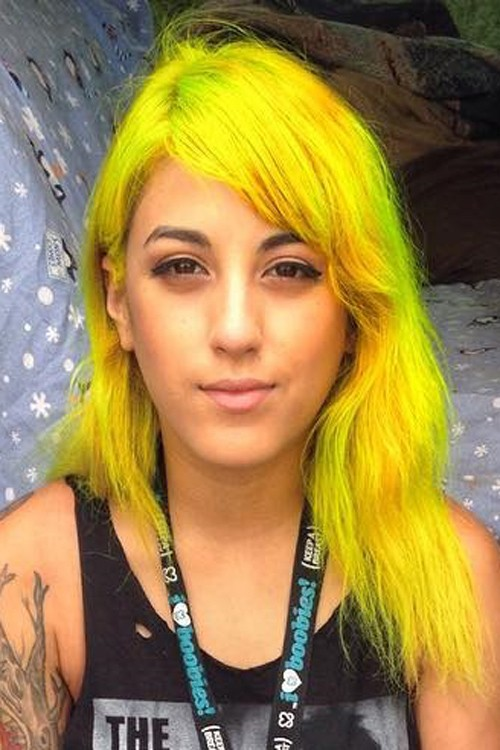 Anissa Rodriguez Wavy Yellow Sideswept Bangs Uneven Color