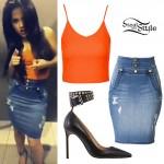Becky G: Orange Tank, Denim Skirt