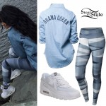 Becky G: Denim Shirt, Stripe Leggings