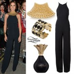 Cheryl: Black Jumpsuit, Beaded Collar