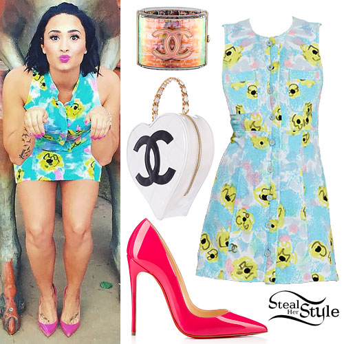 Demi Lovato: Printed Terry Cloth Dress