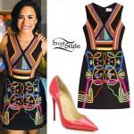 Demi Lovato: Stripe Dress, Pink Pumps