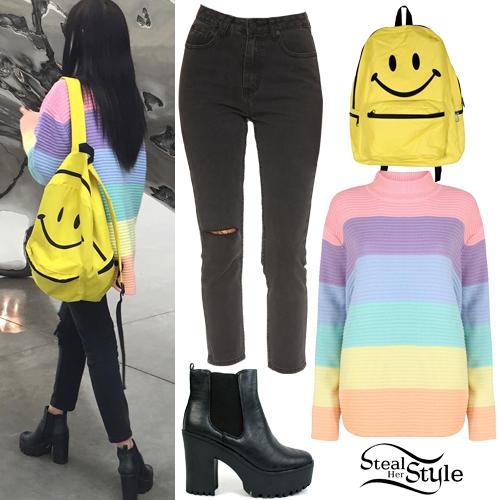 Elizabeth Jane Bishop: Rainbow Sweater Outfit