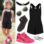 Ella Eyre: Black Overalls, Pink Sneakers