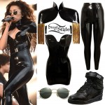 Ella Eyre: Black Latex Outfit