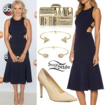 Emily Osment: Navy Cutout Dress