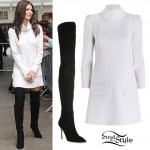 Emily Ratajkowski: Turtleneck Dress, Tall Boots