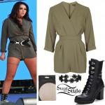 Jesy Nelson: Khaki Playsuit, Black Boots