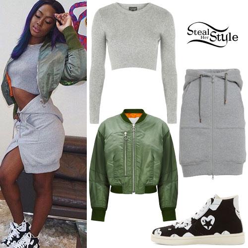 Justine Skye: Olive Bomber, Hoodie Skirt