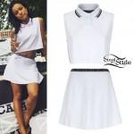 Karrueche Tran: White Tennis Outfit