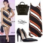 Lauren Giraldo: Stripe Dress, Patent Pumps