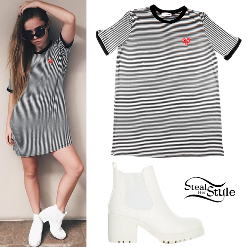 Lexee Smith: Stripe Tunic, White Boots
