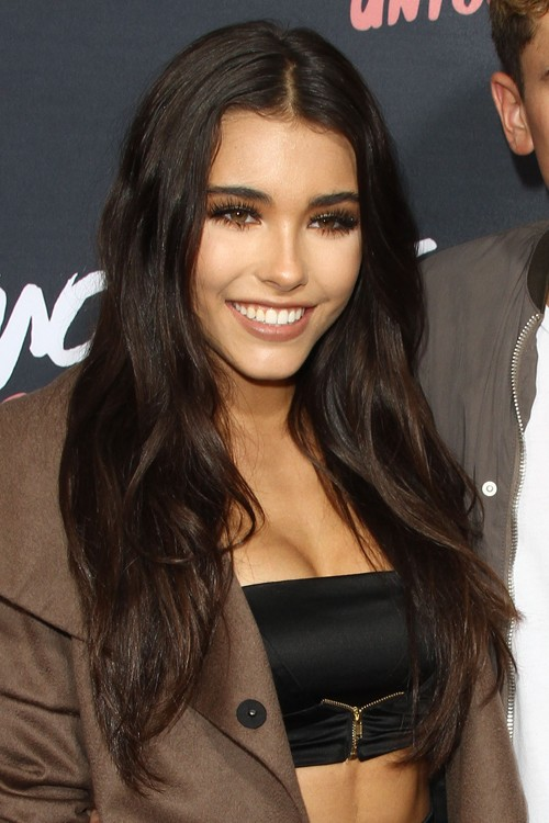 Madison Beer Wavy Dark Brown Angled Hairstyle Steal Her