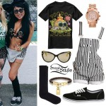 Melissa Marie Green: Voodoo Tee, Striped Shortalls
