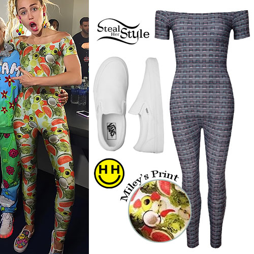 Miley Cyrus: Fruit Print Catsuit