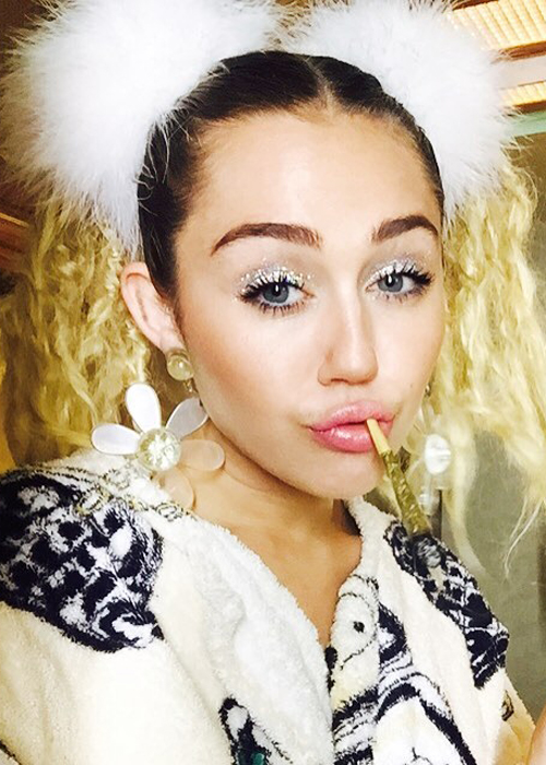Miley Cyrus Wavy Medium Brown Extensions Pigtails Two