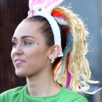 Miley Cyrus wears bunny ears as she leaves Jimmy Kimmel Live! show in Los Angeles