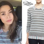 Miranda Cosgrove: Gray Striped Sweater