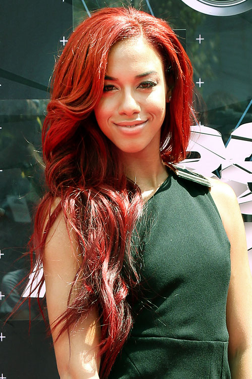 Natalie La Rose Wavy Red Side Part Hairstyle Steal Her Style