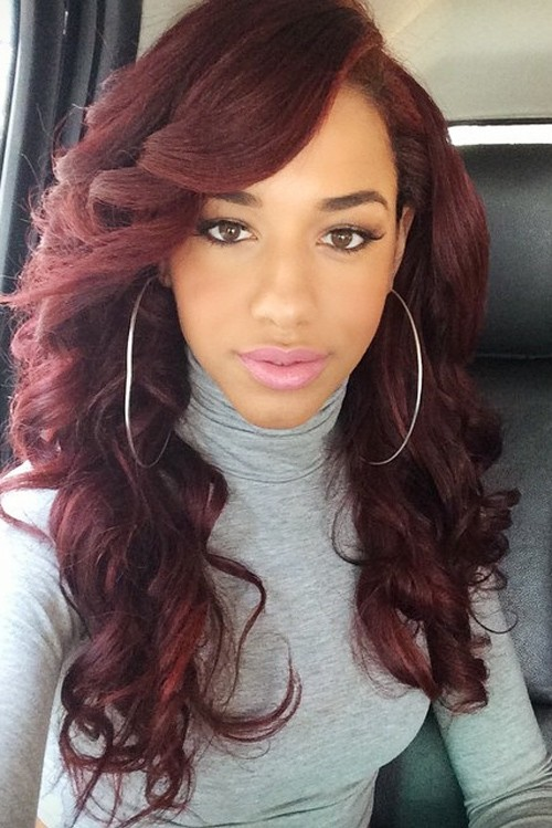 Natalie La Rose Wavy Burgundy Barrel Curls Hairstyle