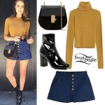 Olivia Culpo: Mustard Sweater Outfit