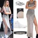 Perrie Edwards: Metallic Knit Dress Outfit