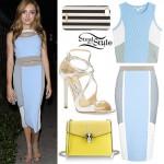 Peyton List: Blue Colorblock Skirt Set