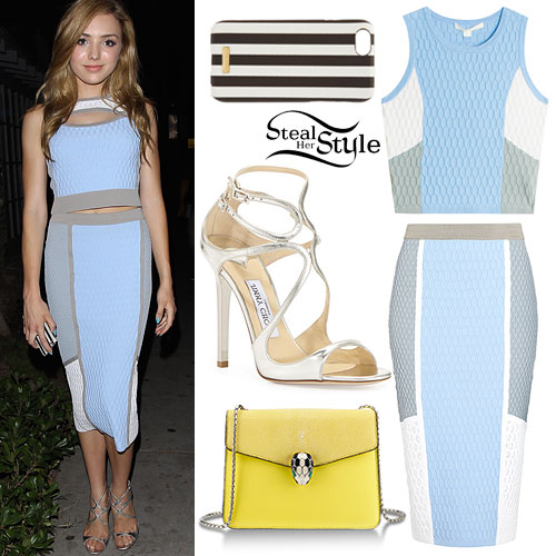 Peyton List: Blue Colorblock Skirt Set